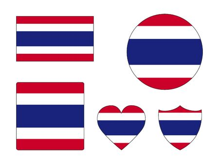 Set of Various Shapes of the Flag of Thailand