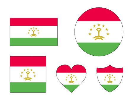 Set of Various Shapes of the Flag of Tajikistan