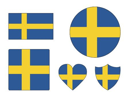 Set of Various Shapes of the Flag of Sweden