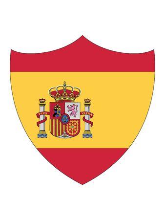 Shield Shaped Flag of Spain Vektoros illusztráció