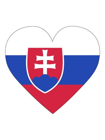 Heart Shaped Flag of Slovakia