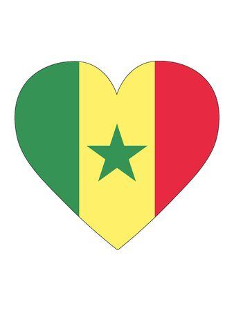 Heart Shaped Flag of Senegal