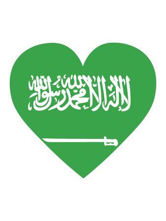 Heart Shaped Flag of Saudi Arabia 일러스트