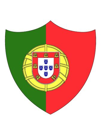 Shield Shaped Flat Flag of Portugal