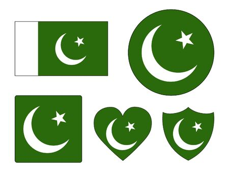 Set of Various Shapes of the Flag of Pakistan Banco de Imagens - 135403069