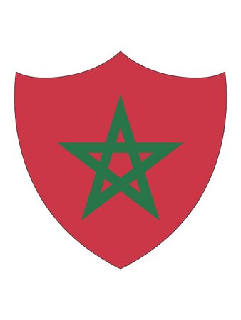 Bandera en forma de escudo de Marruecos Ilustración de vector