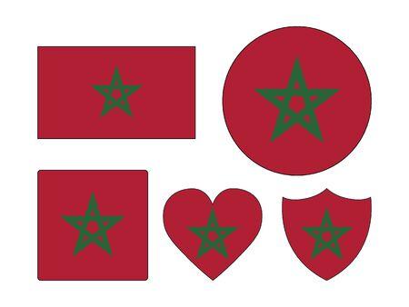 Conjunto de varias formas de la bandera de Marruecos
