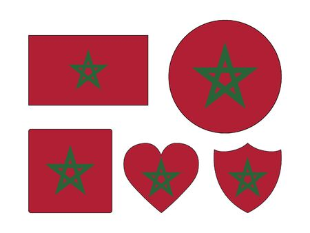 Set of Various Shapes of the Flag of Morocco