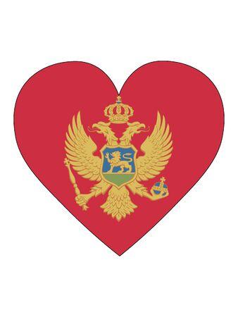 Heart Shaped Flag of Montenegro