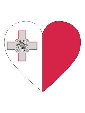 Heart Shaped Flag of Malta