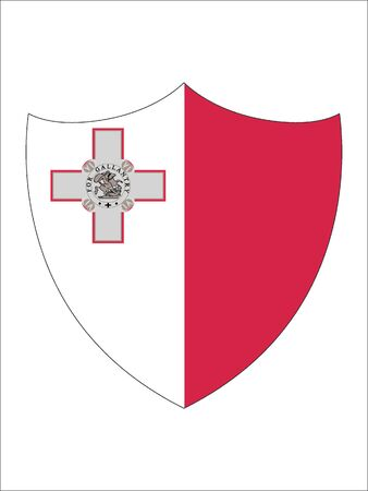 Shield Shaped Flag of Malta 일러스트