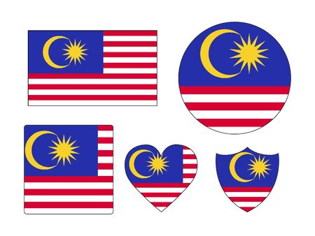 Set of Various Shapes of the Flag of Malaysia