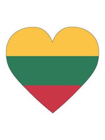 Heart Shaped Flag of Lithuania Illustration