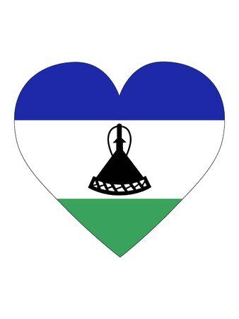 Heart Shaped Flag of Lesotho
