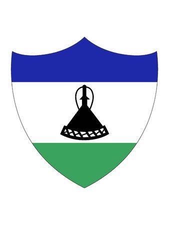 Shield Shaped Flag of Lesotho