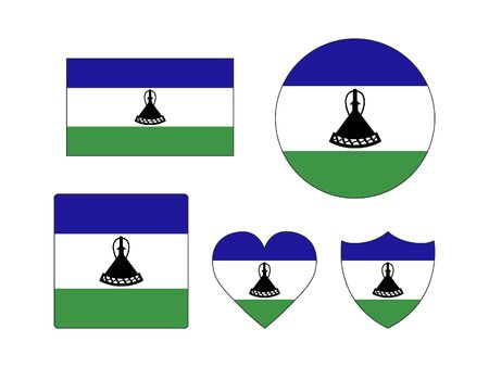 Set of Various Shapes of the Flag of Lesotho