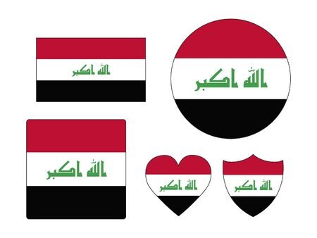 Set of Various Shapes of the Flag of Iraq