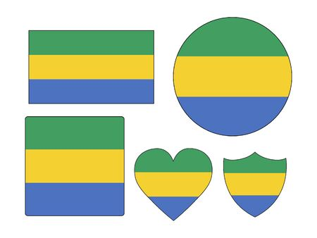 Set of Various Shapes of the Flag of Gabon  イラスト・ベクター素材