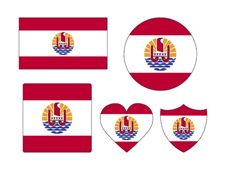 Set of Various Shapes of the Flag of French Polynesia