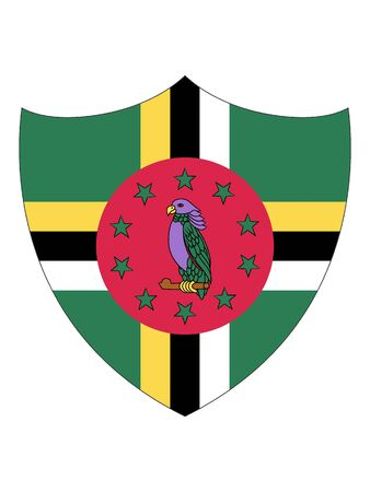 Shield Shaped Flag of Dominica