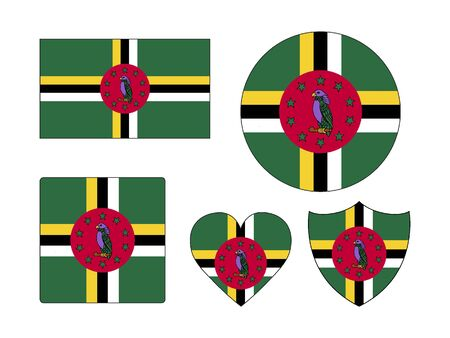 Set of Various Shapes of the Flag of Dominica