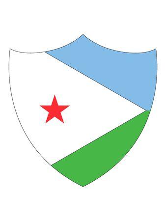 Shield Shaped Flag of Djibouti Ilustração