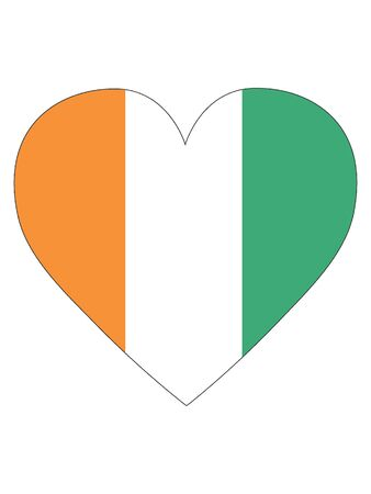 Heart Shaped Flag of Ivory Coast