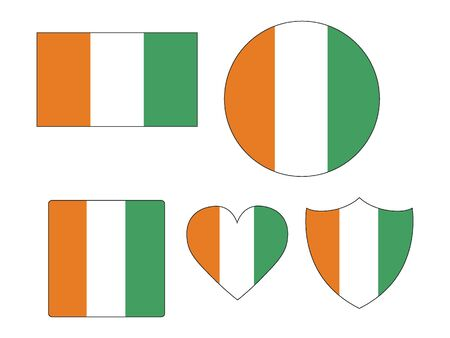 Set of Various Shapes of the Flag of Ivory Coast