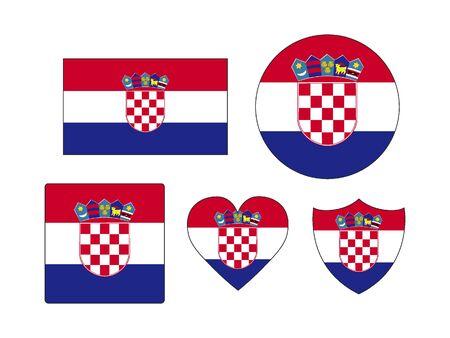 Set of Various Shapes of the Flag of Croatia Ilustração