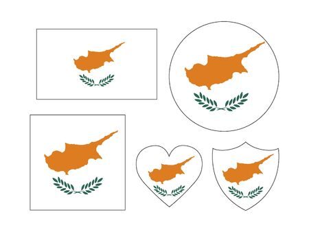 Set of Various Shapes of the Flag of Cyprus Vettoriali