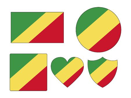 Set of Various Shapes of the Flag of Republic of the Congo