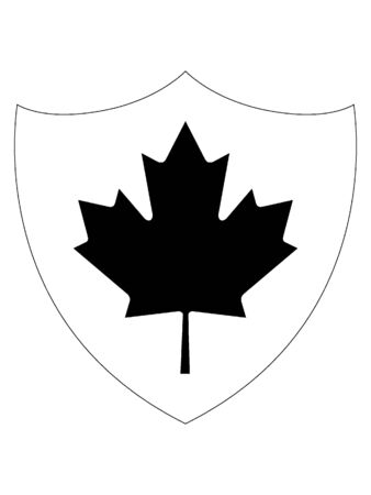 Shield Shaped Black and White Flag of Canada  イラスト・ベクター素材