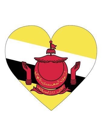 Heart Shaped Flag of Brunei Çizim