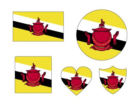 Set of Various Shapes of the Flag of Brunei