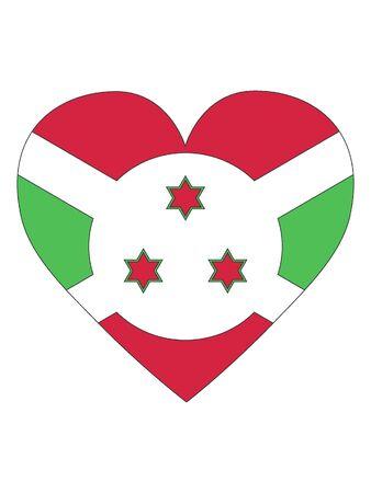 Heart Shaped Flag of Burundi