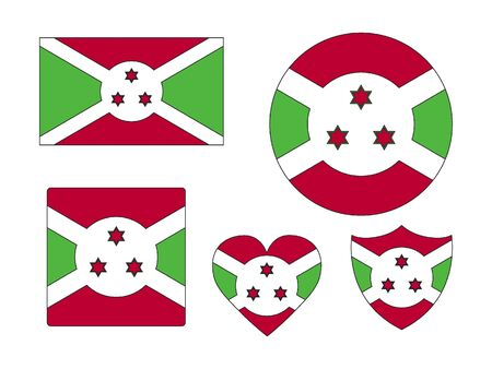 Set of Various Shapes of the Flag of Burundi 일러스트