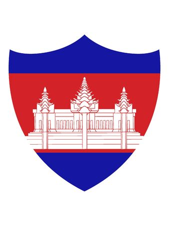 Shield Shaped Flag of Cambodia