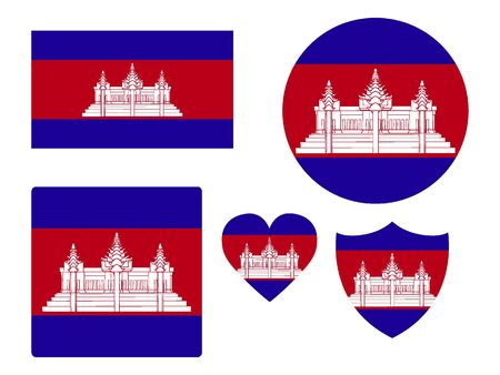 Set of Various Shapes of the Flag of Cambodia