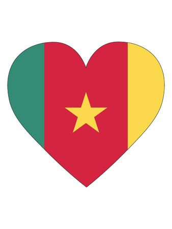 Heart Shaped Flag of Cameroon