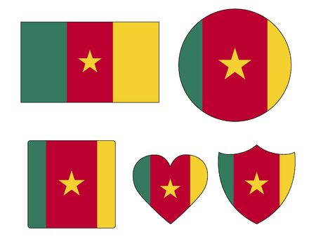 Set of Various Shapes of the Flag of Cameroon