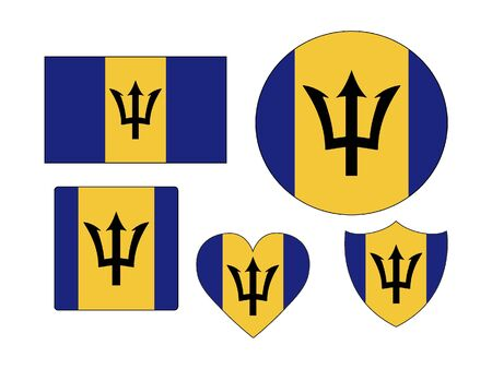 Set of Various Shapes of the Flag of Barbados Ilustrace
