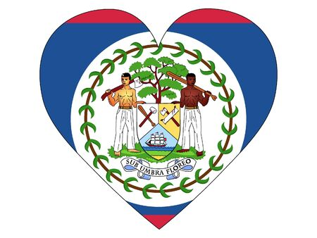Heart Shaped Flag of Belize Vectores