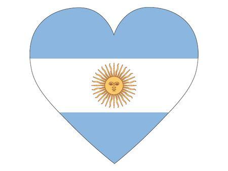 Herzförmige Flagge von Argentinien