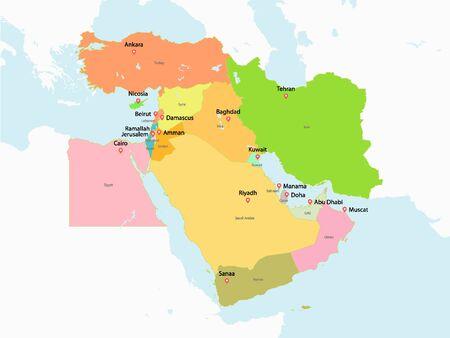 Carte colorée du Moyen-Orient Vecteurs