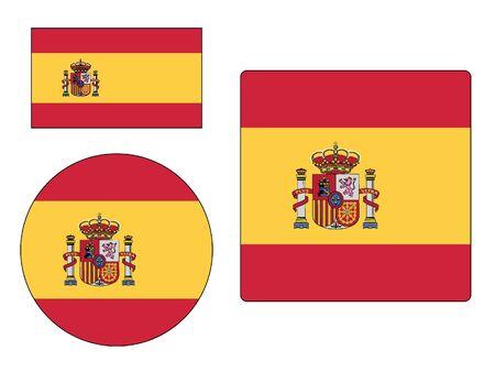 Satz von verschiedenen Formen der Flagge von Spanien