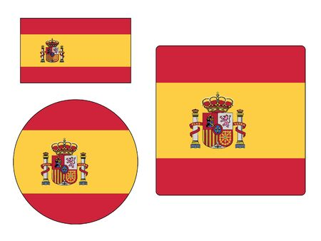 Set of Various Shapes of the Flag of Spain