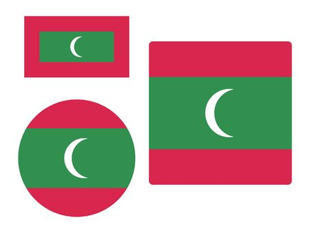 Set of Various Shapes of the Flag of Maldives