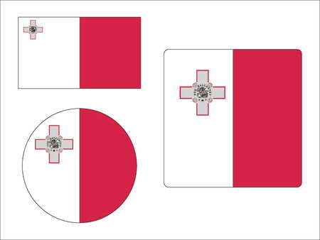 Set of Various Shapes of the Flag of Malta