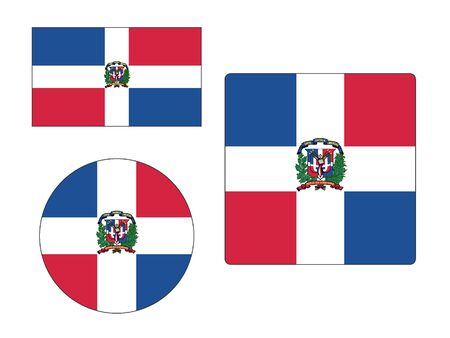 Set of Various Shapes of the Flag of Dominican Republic