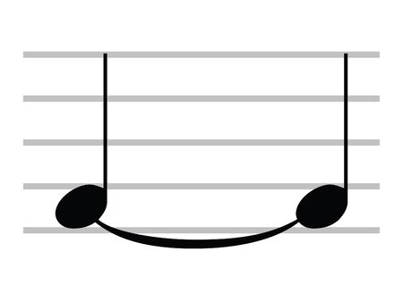 Black Flat Isolated Musical Symbol of Tie